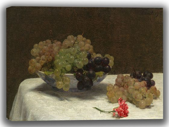 Fantin-Latour, Henri: Still Life with Grapes and a Carnation. Fine Art Canvas. Sizes: A4/A3/A2/A1 (003959)